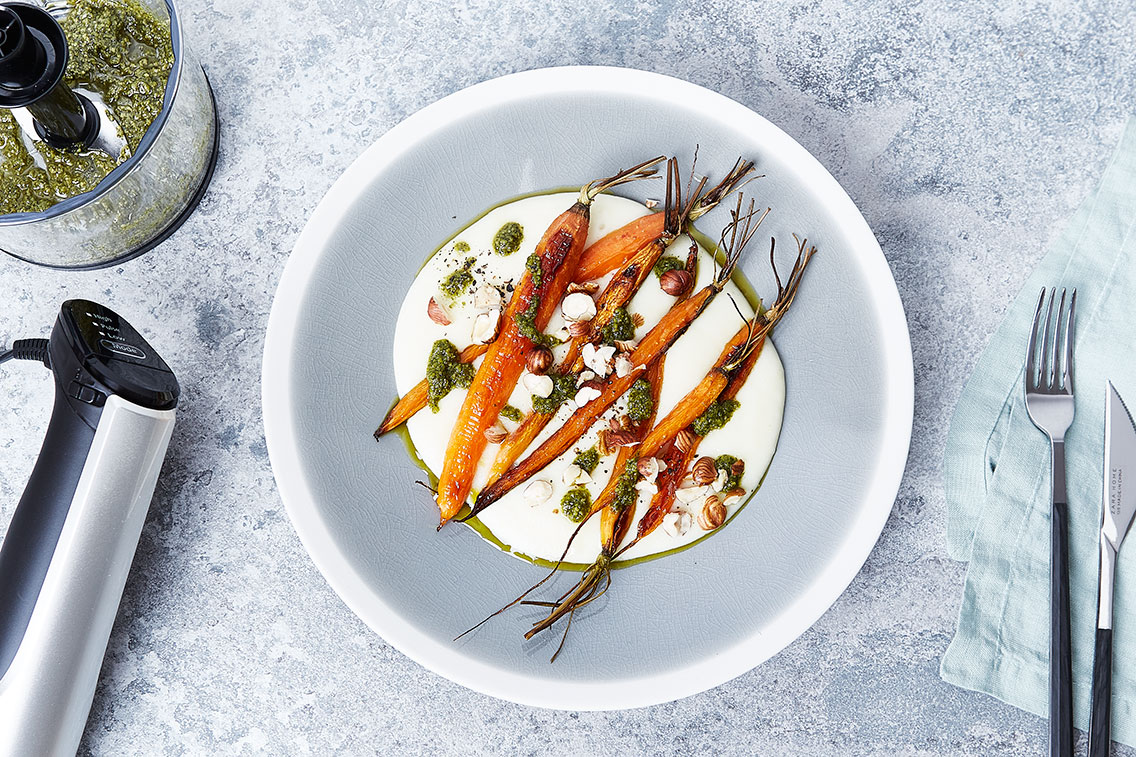 Roasted Carrots with Green Carrot Pesto On Potato Purée