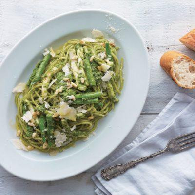 Tintahalas zöld genovai spagetti