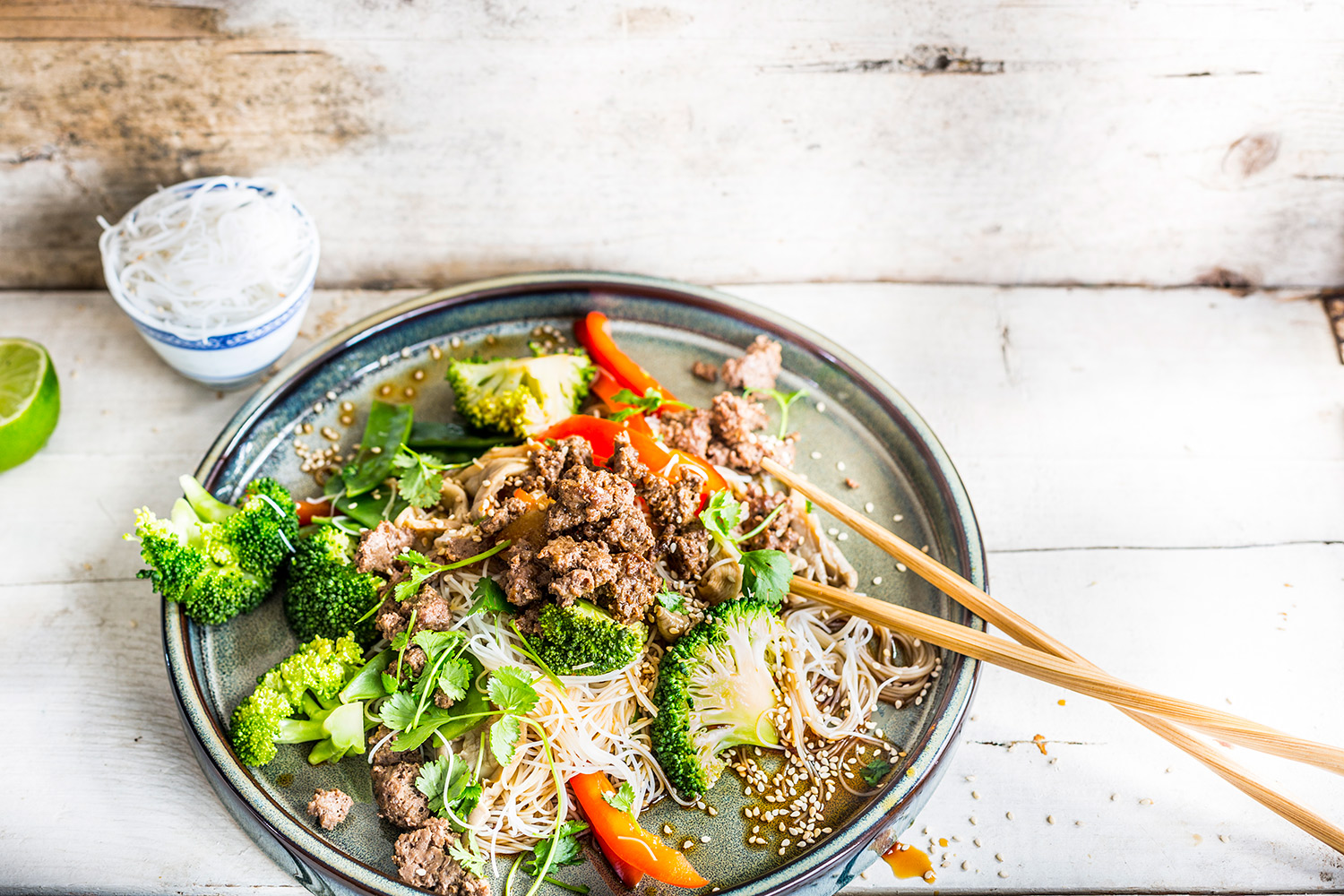Asian Glass Noodle Salad With Spicy Beef Mince
