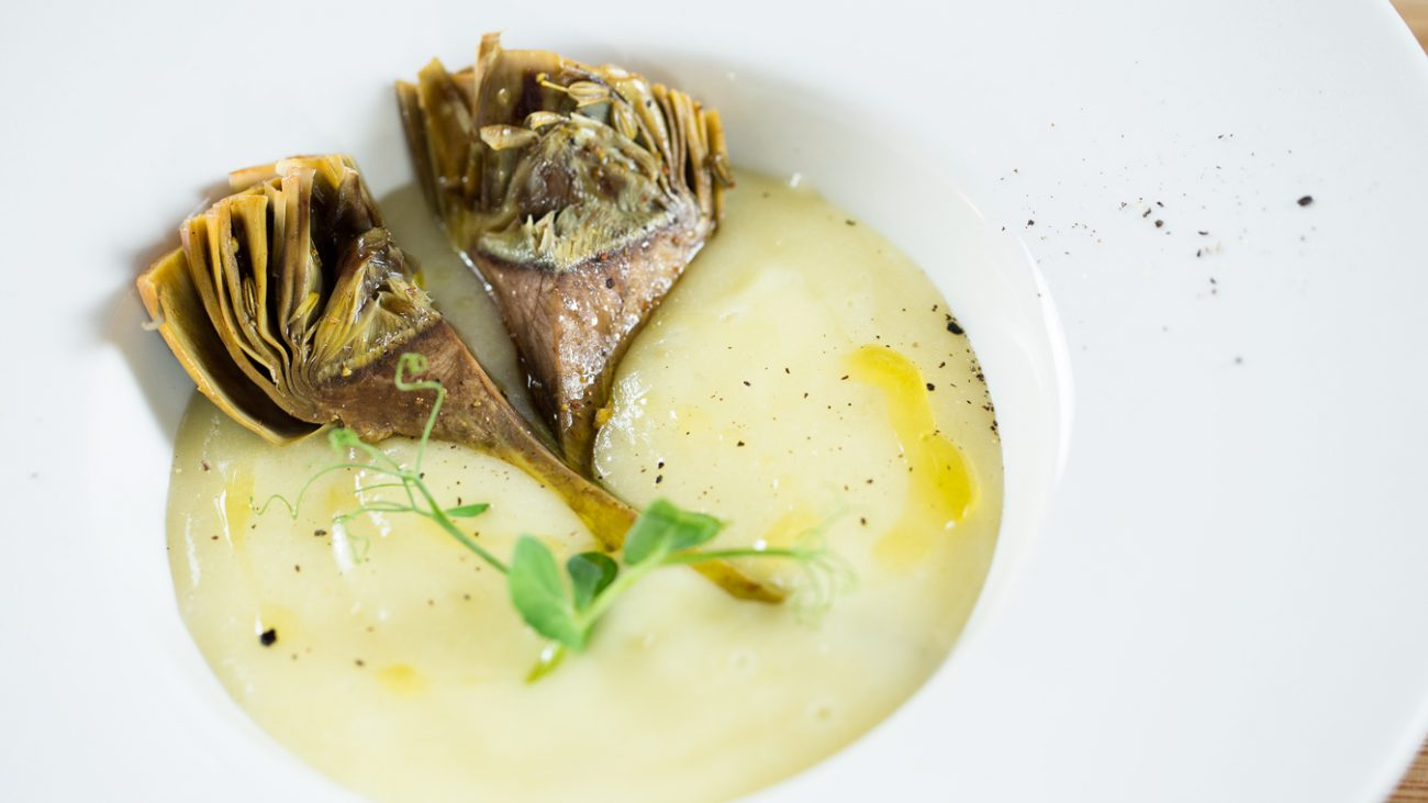 Fondue of potatoes and artichokes sous-vide