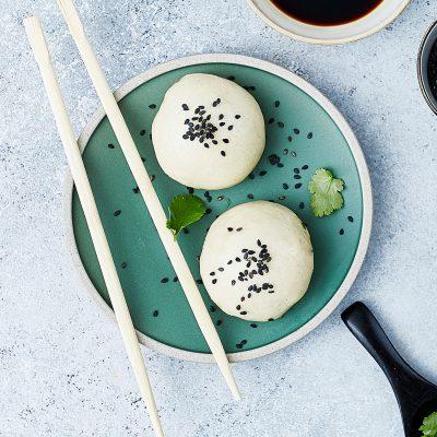 Bollos chinos vegetarianos al vapor