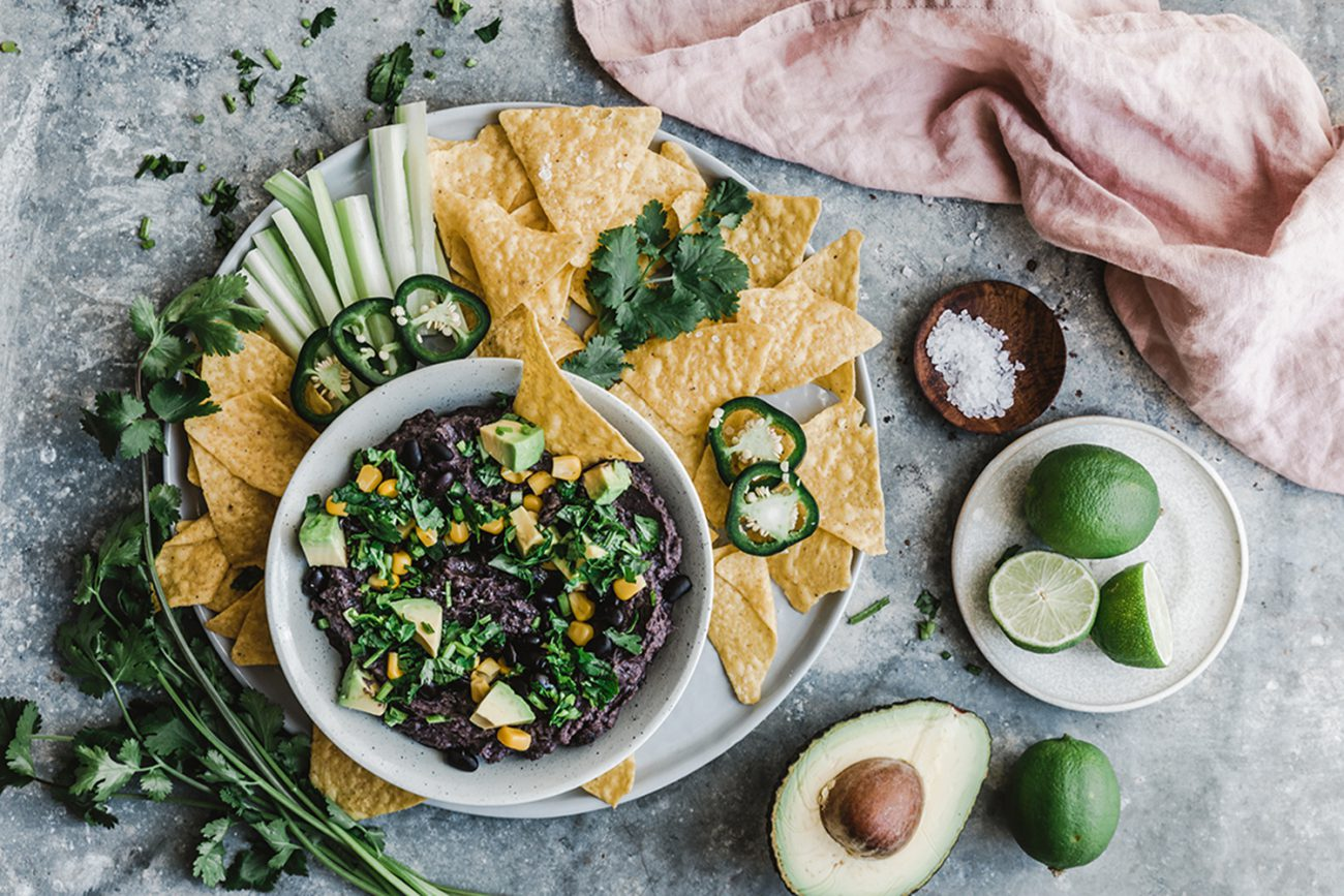Creamy black bean dip with cocoa