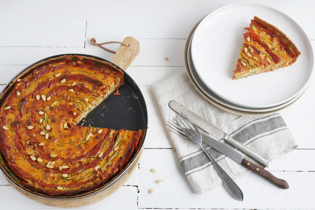 Zucchini pie with ricotta and chorizo