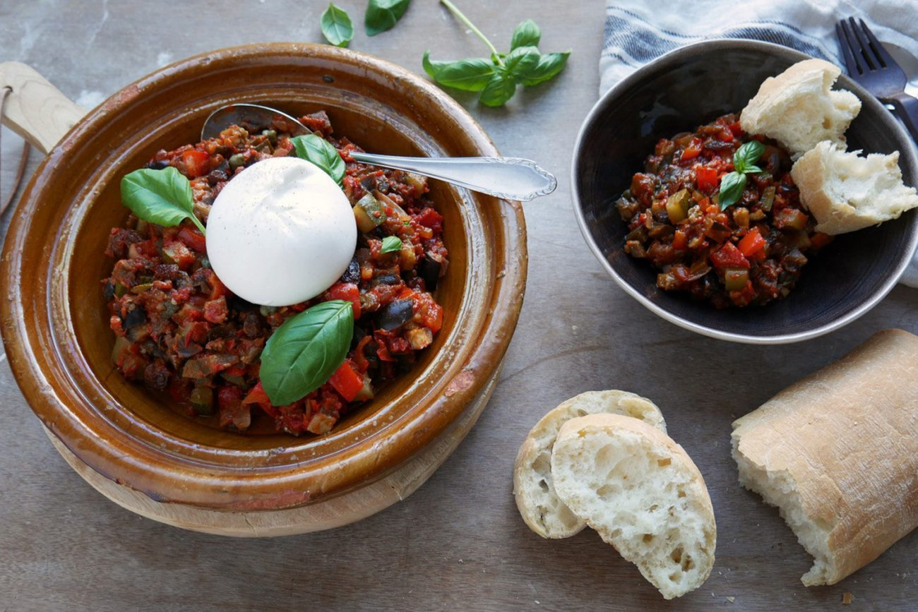 Fall vegetable stew with burrata