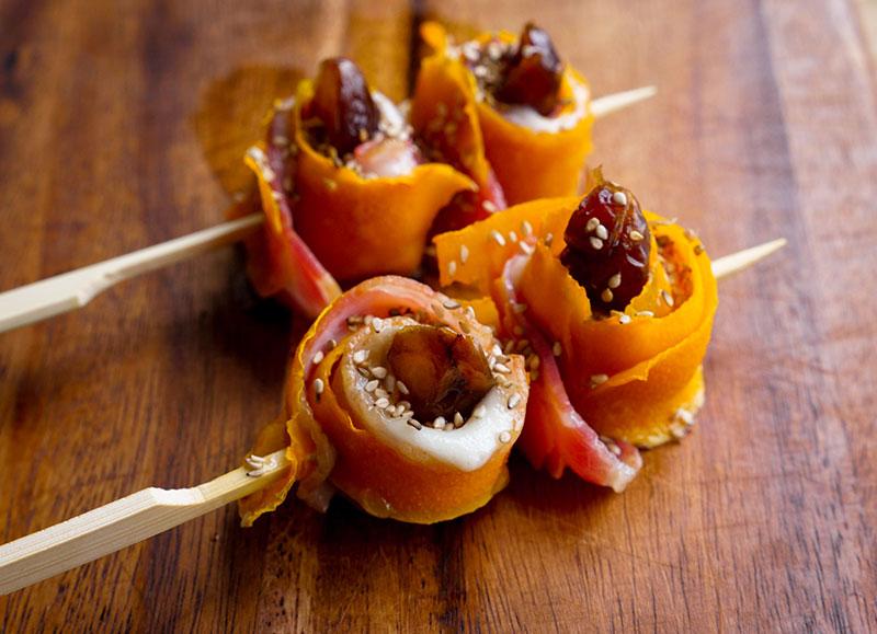 Rollitos Navideños de Calabaza, Bacon y Dátiles