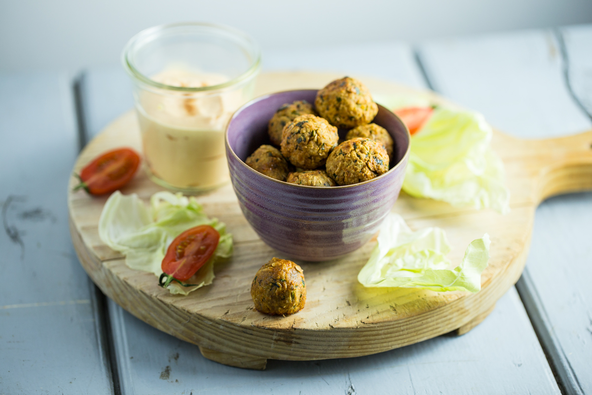 Oven baked Falafel with oats and pumpkin seeds