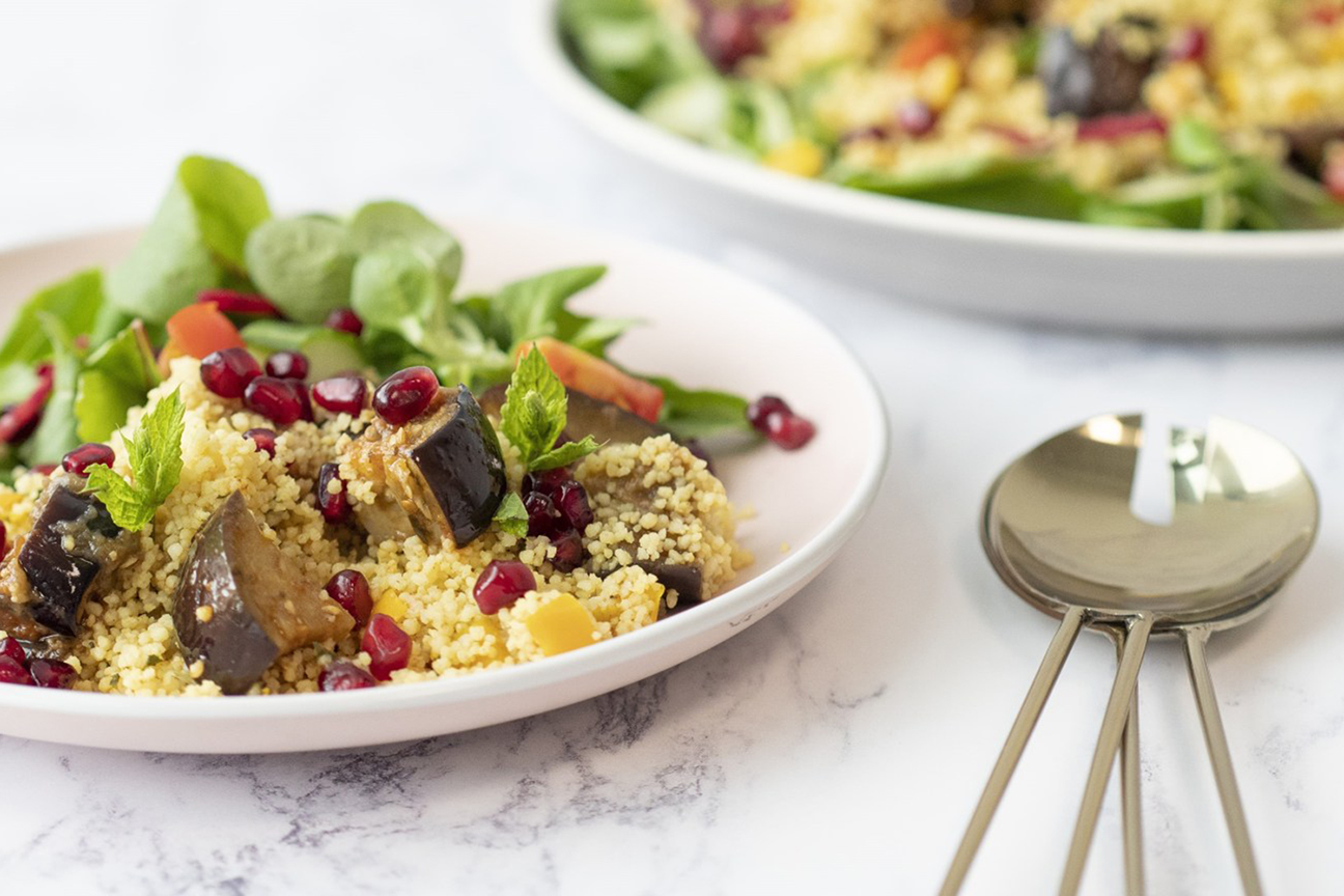 Grilled Aubergine, Mint and Couscous Salad
