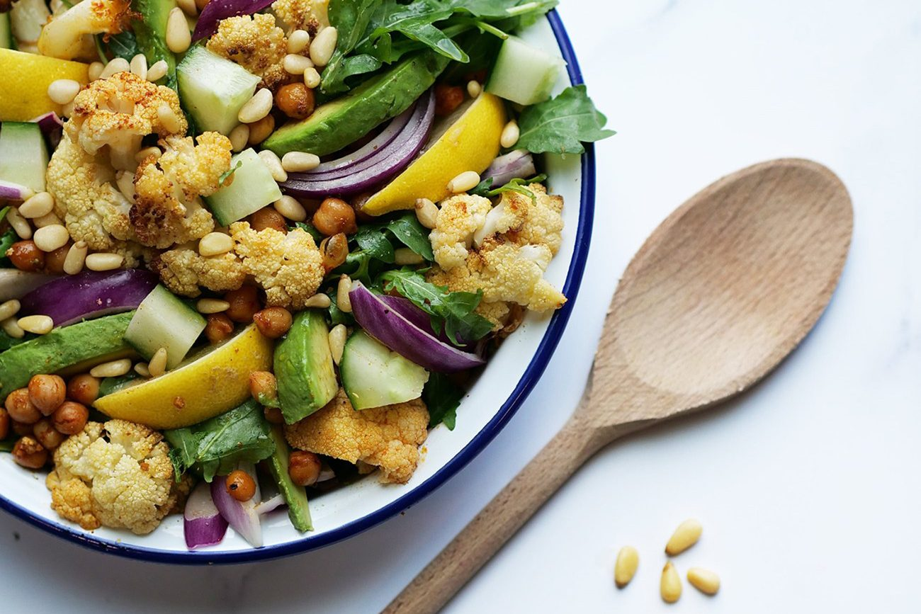 Roasted Cauliflower, Chickpea and Rocket Salad