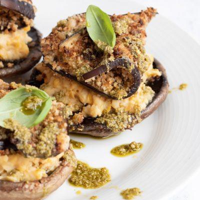 Grilled Mushrooms with Chickpea Mash & Aubergine Schnitzel Recipe