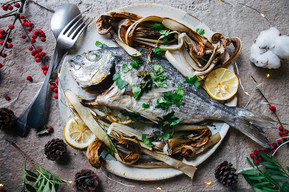 Baked Sea Bream with herbs and roasted radicchio