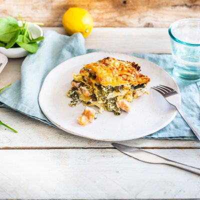 Lasagne al salmone con spinaci
