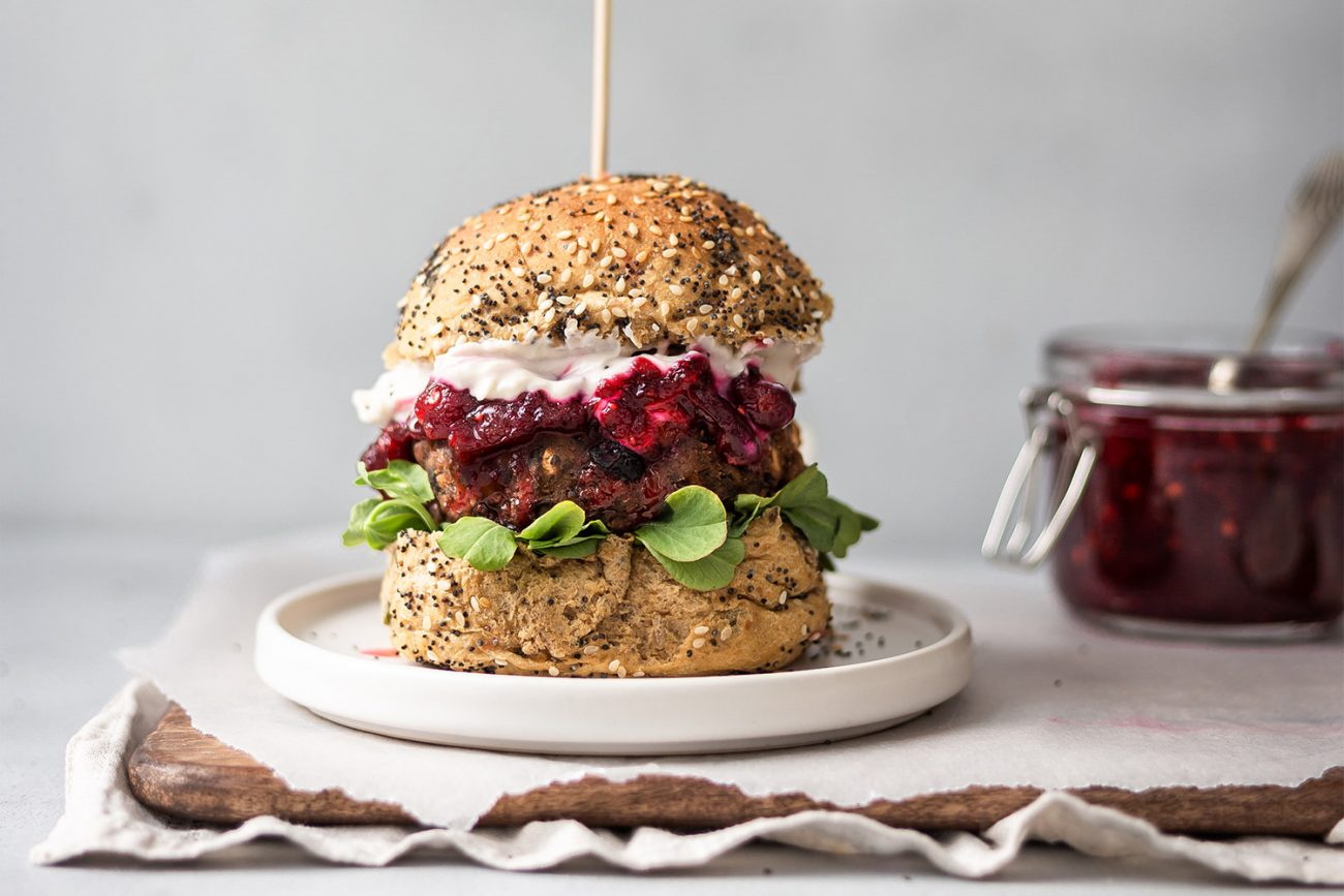 Chestnut, Mushroom and Bean Burgers with a Chilli Cranberry Sauce