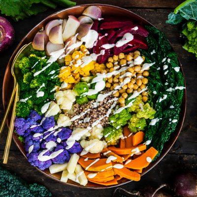 Recept voor salade met gestoomde groenten