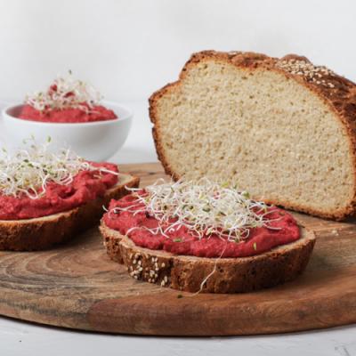 Spelt & Quinoa Bread with Beetroot Hummus Recipe