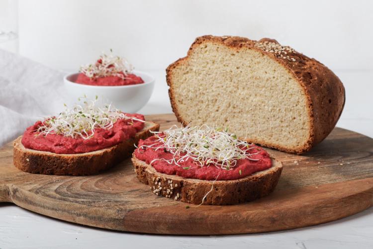 Spelt & Quinoa Bread with Beetroot Hummus