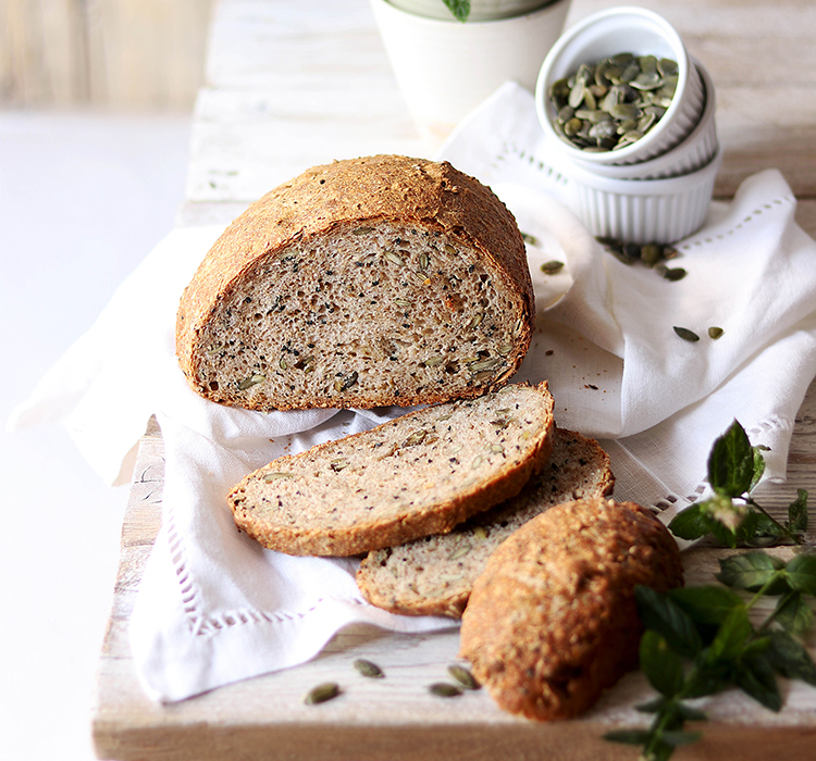 Wholegrain Bread With Seeds and Red Pepper