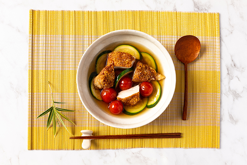 Crispy Chicken with Vegetables  and Dashi Sauce