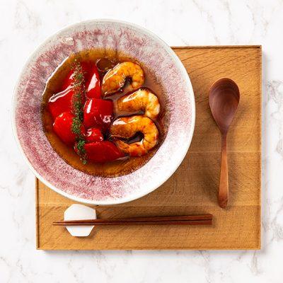 Crevettes mijotées aux poivrons