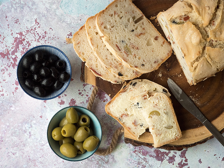 Gluten Free Bread with Bacon & Olives