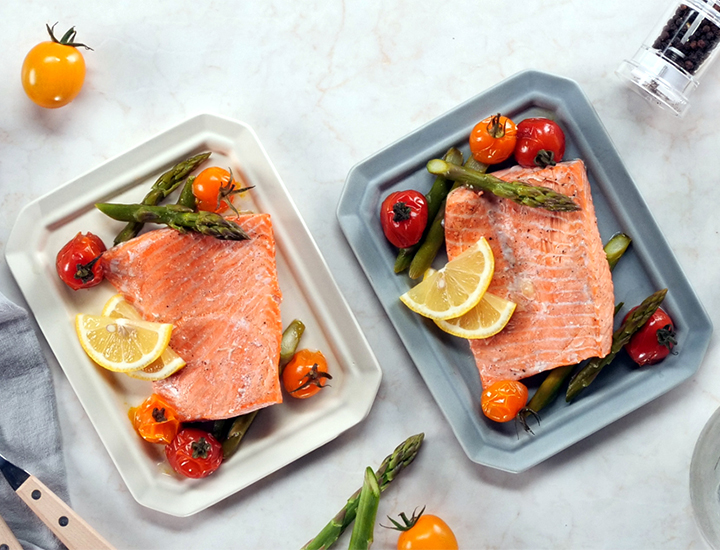 Steamed Salmon and Vegetables