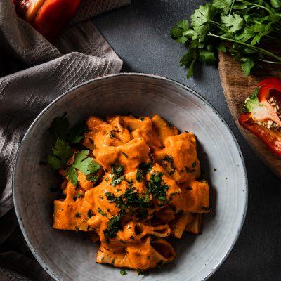 Pasta with Red Pepper Cream Recipe