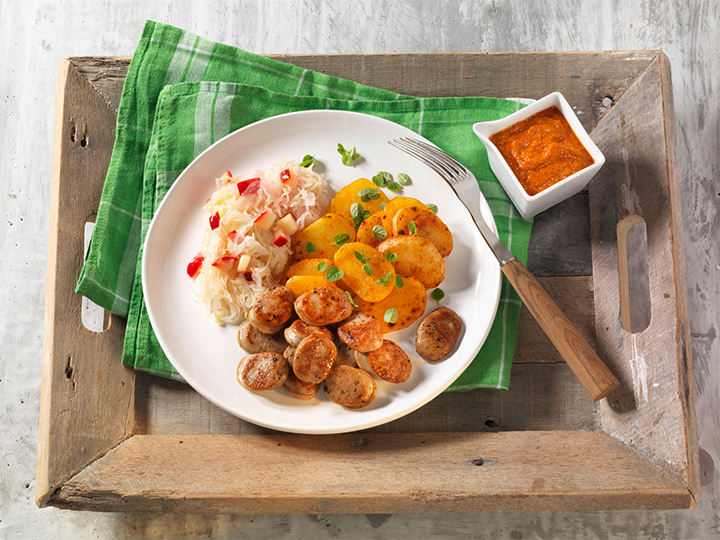 Bratwurst with Sauerkraut and Potatoes