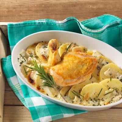 Recette du blanc de poulet au gorgonzola et ses pommes de terre