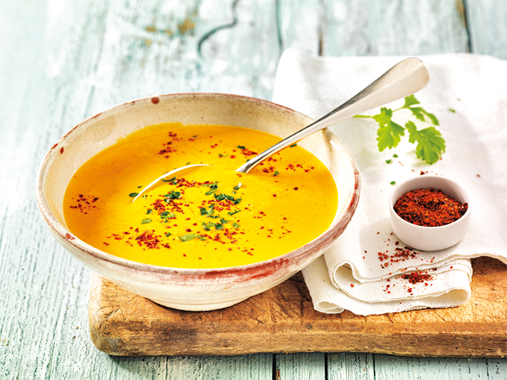 Pumpkin Soup with Nashi Pears and Chilli