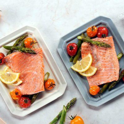 Saumon et légumes cuits à la vapeur