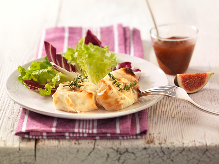 Baked Goat Cheese with Fig Mustard