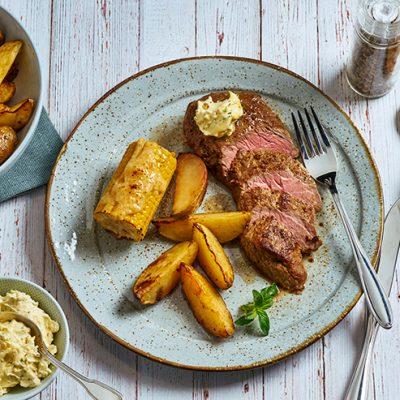 Steak with Potato Wedges, Corn <br>&#038; Lemon Butter