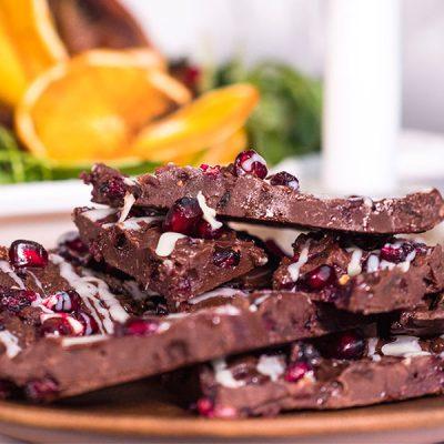 Vegan Chocolate & Pomegranate Bark Recipe