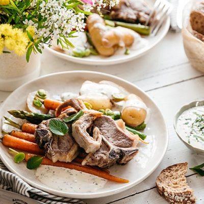 Recette d'agneau de pâques aux légumes de printemps