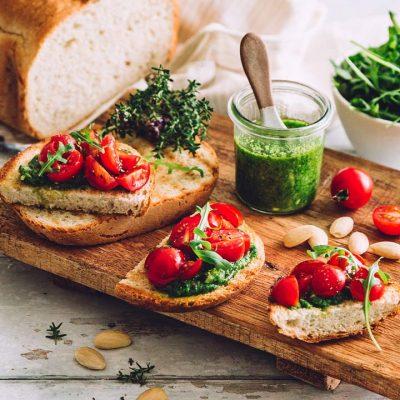 Bruschetta with Tomatoes and Rocket Pesto Recipe