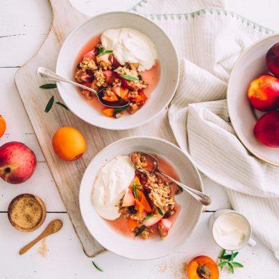 Recette de crumble fruits d'été et céréales